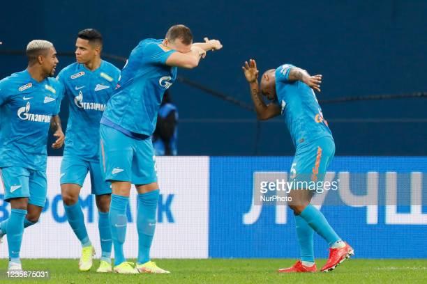 Artem Dzyuba of Zenit celebrates his goal with Wilmar Barrios during the Russian Premier League match between FC Zenit Saint Petersburg and FC Sochi...