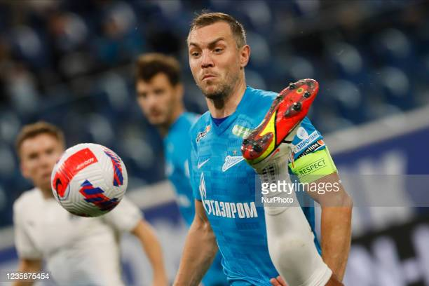 Artem Dzyuba of Zenit in action during the Russian Premier League match between FC Zenit Saint Petersburg and FC Sochi on October 3, 2021 at Gazprom...