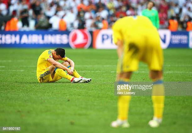 Artem Fedetskiy of Ukraine shows his despair during the UEFA EURO 2016 Group C match between Ukraine and Poland at Stade Velodrome on June 21 2016 in...