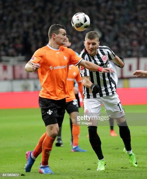 Artem Fedetsky of Darmstadt and Ante Rebic of Frankfurt battle for the ball during the Bundesliga match between Eintracht Frankfurt and SV Darmstadt...