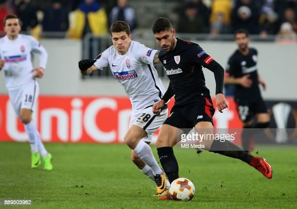Artem Gromov of Zorya Luhansk and Aritz Aduriz of Athletic Bilbao UEFA Europa League Group J match between Zorya Luhansk and Athletic Bilbao at Arena...