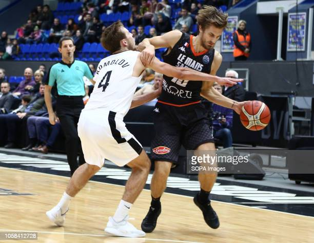 Artem komolov and Vakentin Bigote seen in action during the game Basketball Champions League BC Nizhny Novgorod from Russia vs Le Mans from France...