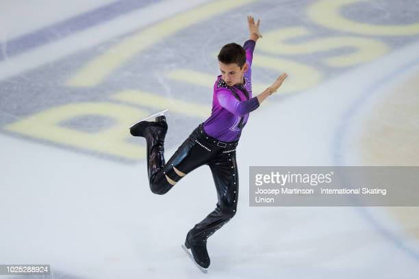 Artem Kovalev of Russia competes in the Junior Men Short Program during day one of the ISU Junior Grand Prix of Figure Skating at Keine Sorgen Eis...