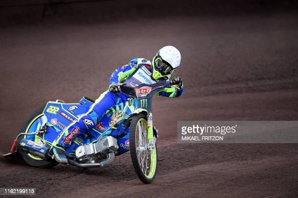 Artem Laguta of Russia competes during the 2019 Scandinavian FIM Speedway Grand Prix, round 6, at G&B Arena on August 17 in Malilla, Sweden. / Sweden...