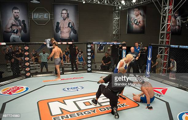 Artem Lobov celebrates his victory over James Jenkins during the filming of The Ultimate Fighter Team McGregor vs Team Faber at the UFC TUF Gym on...