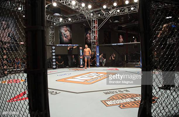 Artem Lobov enters the Octagon before facing James Jenkins during the filming of The Ultimate Fighter Team McGregor vs Team Faber at the UFC TUF Gym...