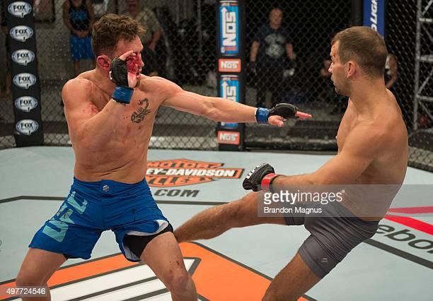 Artem Lobov kicks James Jenkins during the filming of The Ultimate Fighter Team McGregor vs Team Faber at the UFC TUF Gym on August 10 2015 in Las...