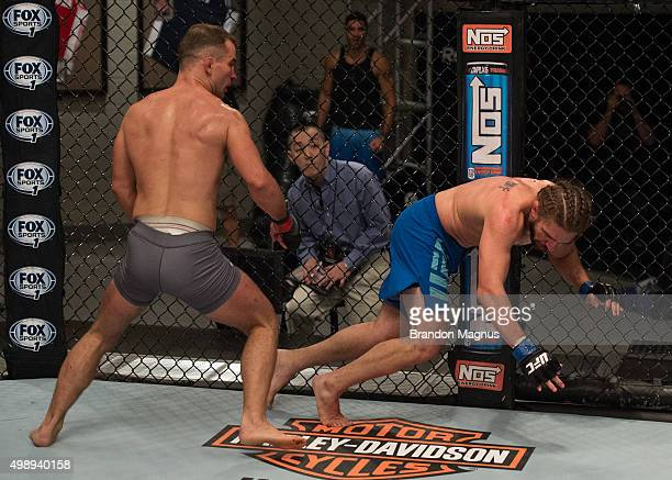 Artem Lobov knocks down Chris Gruetzemacher during the filming of The Ultimate Fighter Team McGregor vs Team Faber at the UFC TUF Gym on August 18...