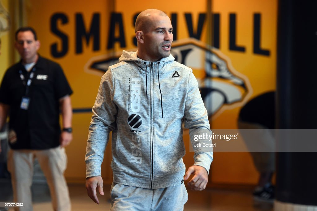Artem Lobov of Russia holds an open workout for fans and media at the Bridgestone Arena Atrium on April 20, 2017 in Nashville, Tennessee.