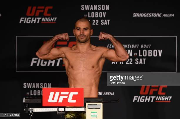 Artem Lobov of Russia poses on the scale during the UFC Fight Night weighin at the Sheraton Music City Hotel on April 21 2017 in Nashville Tennessee