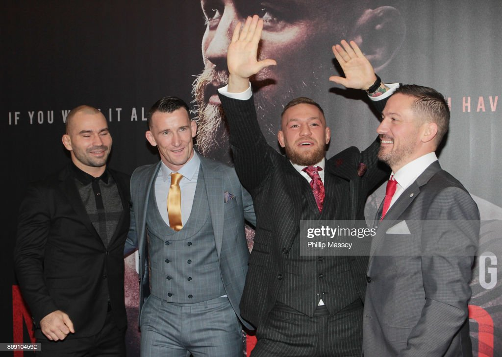 Artem Lobov, Owen Roddy, Conor McGregor and John Kavanagh attend the Irish premiere of 'Conor McGregor: Notorious' held at the Savoy Cinema on November 1, 2017 in Dublin, Ireland.