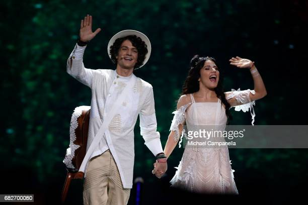 Artem Lukyanenko and Ksenia Zhuk of the band Naviband representing Belarus are seen on stage during the final of the 62nd Eurovision Song Contest at...
