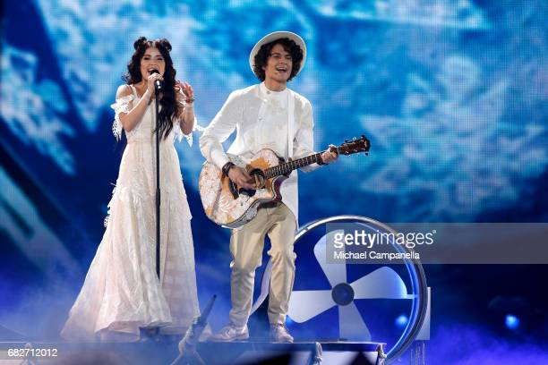 Artem Lukyanenko and Ksenia Zhuk of the band Naviband representing Belarus perform the song 'Story of My Life' during the final of the 62nd...