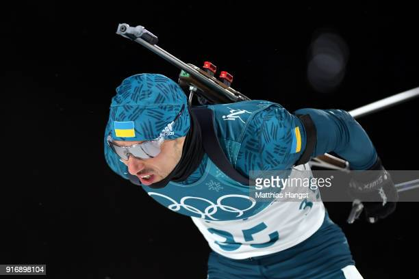 Artem Pryma of Ukraine competes during the Men's 10km Sprint Biathlon on day two of the PyeongChang 2018 Winter Olympic Games at Alpensia Biathlon...