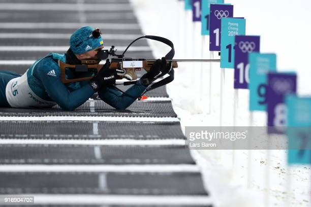 Artem Pryma of Ukraine shoots during the Men's 10km Sprint Biathlon on day two of the PyeongChang 2018 Winter Olympic Games at Alpensia Biathlon...