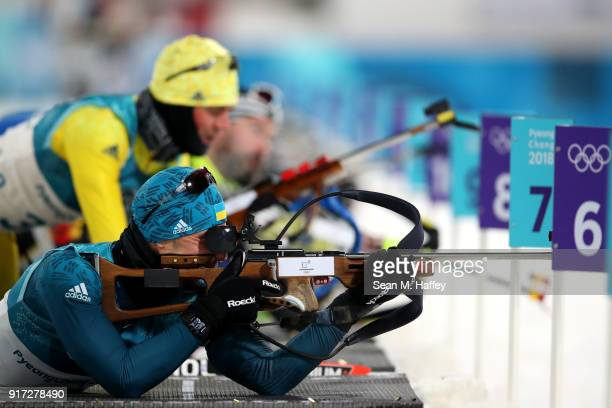 Artem Pryma of Ukraine shoots during the Men's Biathlon 125km Pursuit on day three of the PyeongChang 2018 Winter Olympic Games at Alpensia Biathlon...