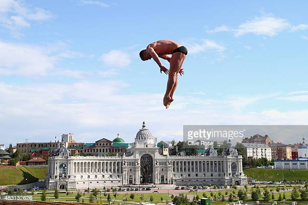 Artem Silchenko of Russia competes in the Men's 27m High Diving Final on day twelve of the 16th FINA World Championships at the Kanzanka River on...