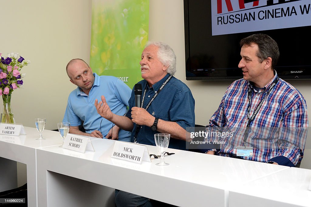 Artem Vasiliev, Katriel Schory and Nick Holdsworth attend the Russian Film Panel during the 65th Annual Cannes Film Festival at the Russian Pavillion on May 21, 2012 in Cannes, France.