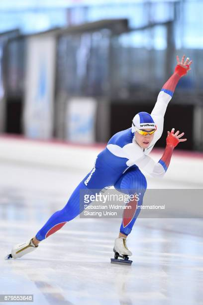Artem Zolotarev of Russia performs during the Men 500 Meter at the ISU Junior World Cup Speed Skating at Max Aicher Arena on November 26 2017 in...