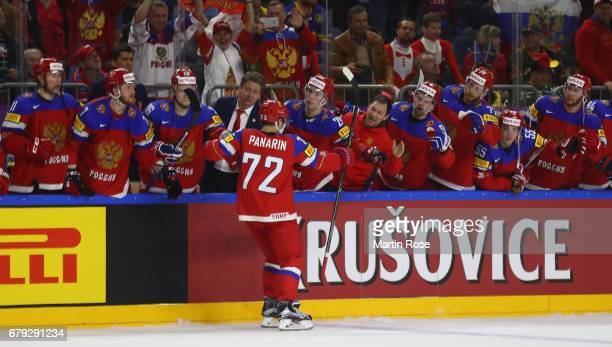Artemi Panarin of Russia celebrates after scoring during the 2017 IIHF Ice Hockey World Championship game between Sweden and Russia at Lanxess Arena...