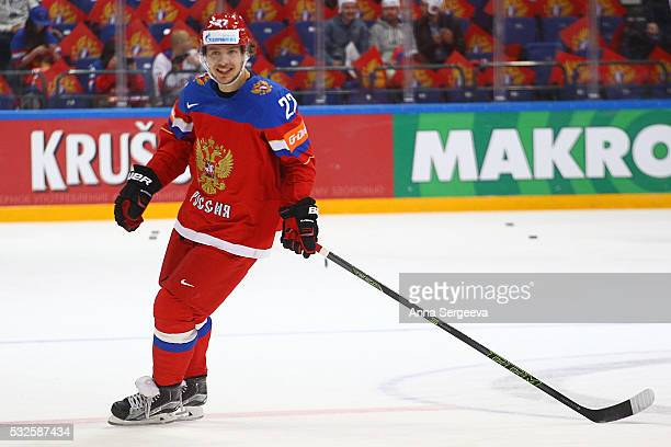 Artemi Panarin of Russia skates against Denmark at Ice Palace on May 12 2016 in Moscow Russia