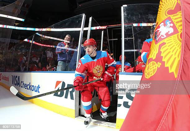 Artemi Panarin of Team Russia takes to the ice prior to the game against Team Finland during the World Cup of Hockey 2016 at Air Canada Centre on...