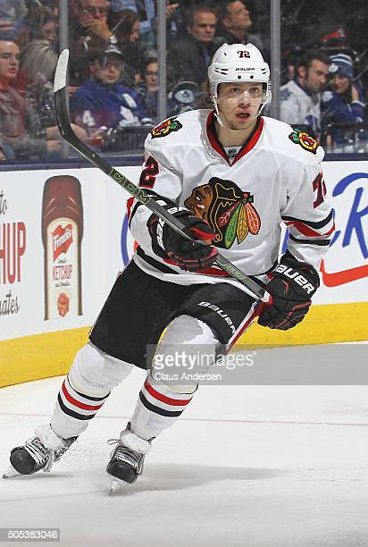 Artemi Panarin of the Chicago Black Hawks skates against the Toronto Maple Leafs during an NHL game at the Air Canada Centre on January 15 2016 in...