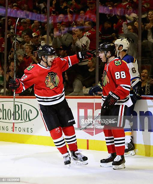 Artemi Panarin of the Chicago Blackhawks celebrates a second period goal with teammate Patrick Kane who had the assist against the St Louis Blues...