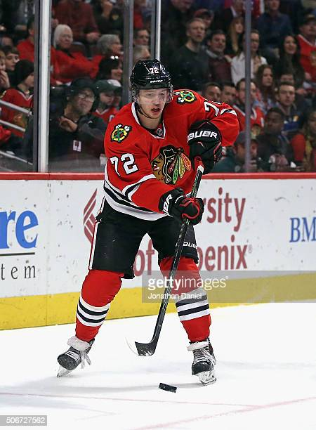 Artemi Panarin of the Chicago Blackhawks passes against the St Louis Blues at the United Center on January 24 2016 in Chicago Illinois The Blackhawks...