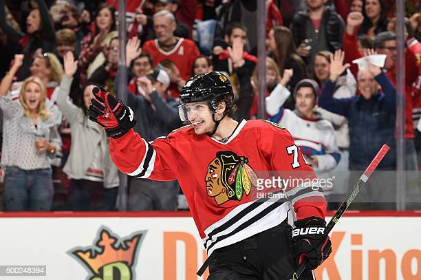 Artemi Panarin of the Chicago Blackhawks reacts after scoring an emptynet goal against the Winnipeg Jets in the third period of the NHL game at the...