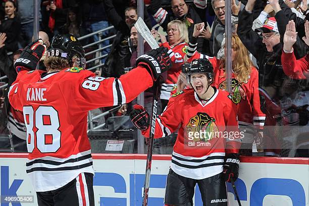 Artemi Panarin of the Chicago Blackhawks reacts after scoring in the third period of the NHL game against the New Jersey Devils at the United Center...