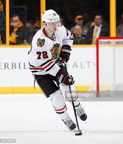 Artemi Panarin of the Chicago Blackhawks skates against the Nashville Predators during an NHL game at Bridgestone Arena on December 29 2016 in...