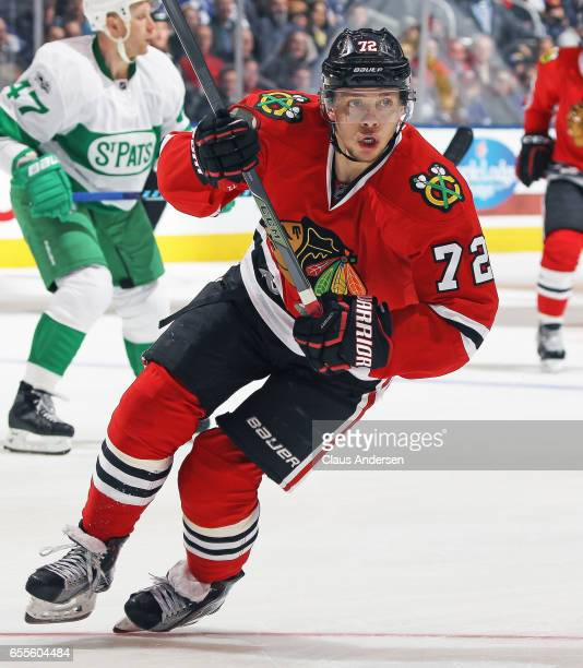 Artemi Panarin of the Chicago Blackhawks skates against the Toronto Maple Leafs during an NHL game at the Air Canada Centre on March 18 2017 in...