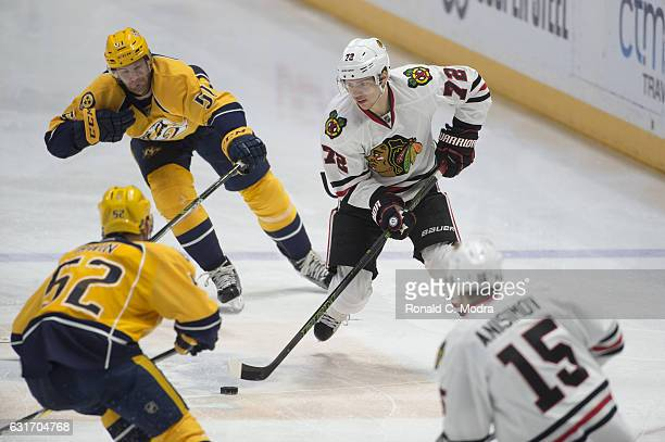 Artemi Panarin of the Chicago Blackhawks skates during a NHL game against the Nashville Predators at Bridgestone Arena on December 29 2016 in...