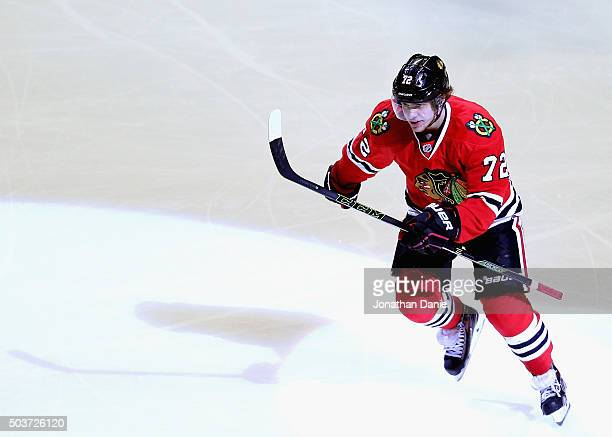 Artemi Panarin of the Chicago Blackhawks skates to the bench after scoring his second goal of the game in the third period against the Pittsburgh...
