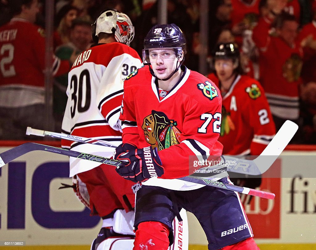 Artemi Panarin #72 of the Chicago Blackhawks skates to the bench after scoring his 16th goal of the season against the Carolina Hurricanes at the United Center on January 6, 2017 in Chicago, Illinois.
