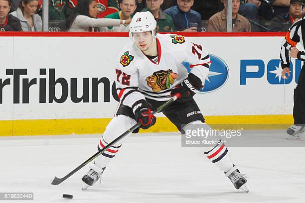 Artemi Panarin of the Chicago Blackhawks skates with the puck against the Minnesota Wild during the game on March 29 2016 at the Xcel Energy Center...