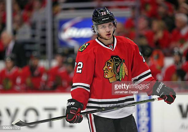 Artemi Panarin of the Chicago Blackhawks takes a break during a timeout against the Montreal Canadiens at the United Center on January 17 2016 in...