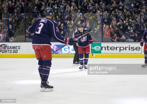 Artemi Panarin of the Columbus Blue Jackets celebrates a goal during the first period of the game between the Columbus Blue Jackets and the...