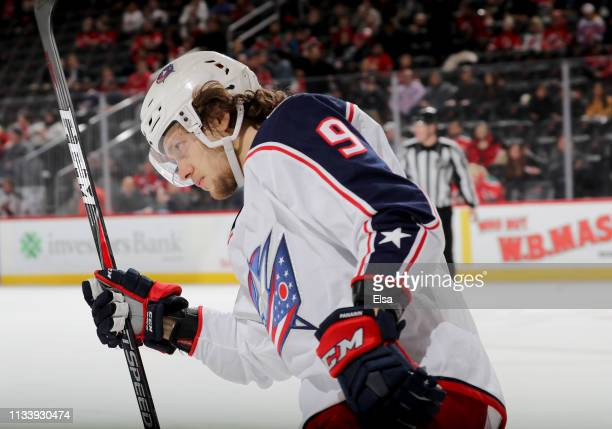 Artemi Panarin of the Columbus Blue Jackets celebrates after he scored the game winner in a shootout against the New Jersey Devils on March 05 2019...