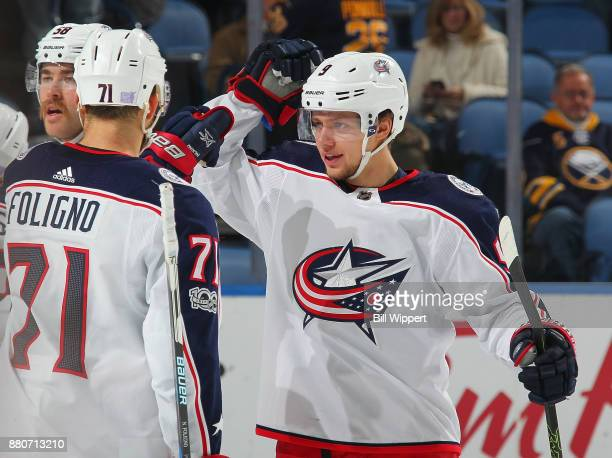 Artemi Panarin of the Columbus Blue Jackets celebrates against the Buffalo Sabres during an NHL game on November 20 2017 at KeyBank Center in Buffalo...