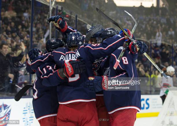 Artemi Panarin of the Columbus Blue Jackets celebrates his goal with his team during the second period of the game between the Columbus Blue Jackets...