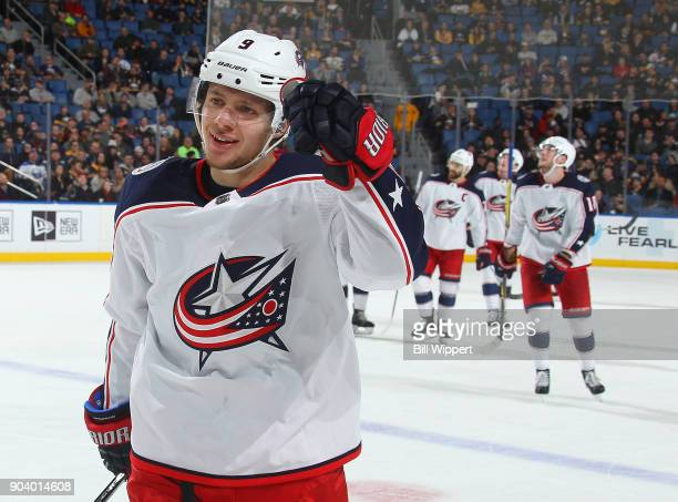 Artemi Panarin of the Columbus Blue Jackets celebrates his third period goal against the Buffalo Sabres an NHL game on January 11 2018 at KeyBank...
