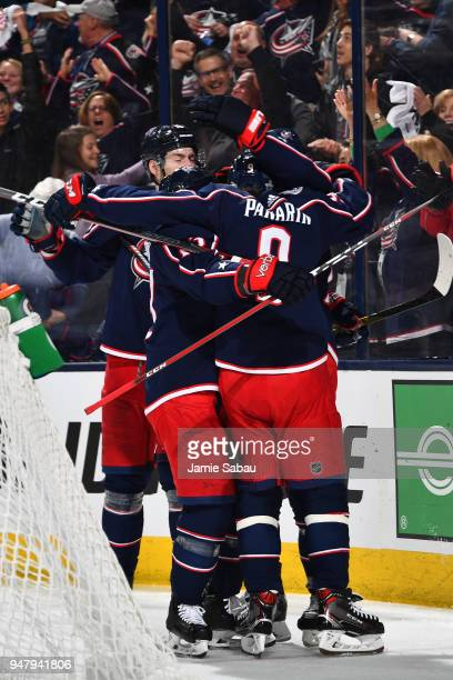 Artemi Panarin of the Columbus Blue Jackets celebrates his third period goal with his teammates in Game Three of the Eastern Conference First Round...