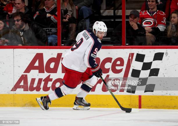 Artemi Panarin of the Columbus Blue Jackets controls the puck along the boards during an NHL game against the Carolina Hurricanes on December 16 2017...