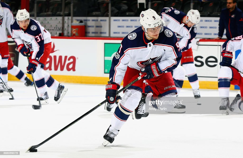 Artemi Panarin #9 of the Columbus Blue Jackets prepares to fire a shot during pregame warmups prior to the game against the New Jersey Devils at Prudential Center on December 8, 2017 in Newark, New Jersey.