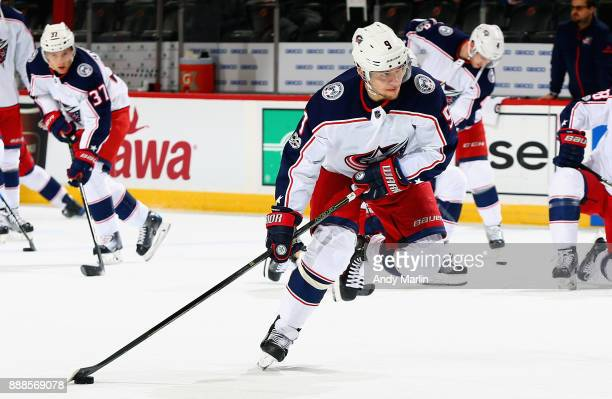 Artemi Panarin of the Columbus Blue Jackets prepares to fire a shot during pregame warmups prior to the game against the New Jersey Devils at...