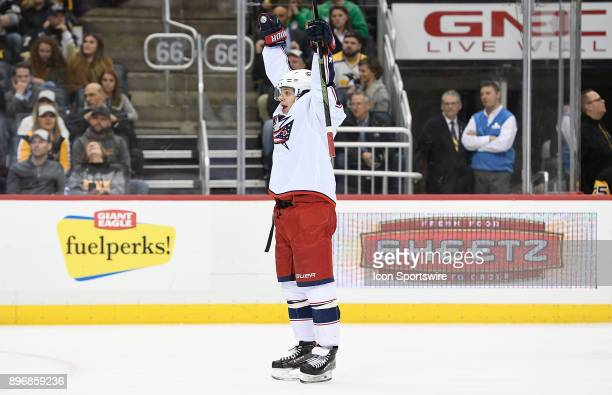 Artemi Panarin of the Columbus Blue Jackets reacts after scoring a goal in the third period during the game against the Pittsburgh Penguins at PPG...