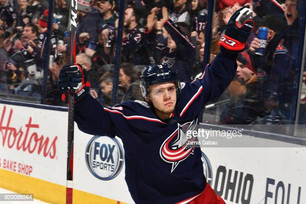 Artemi Panarin of the Columbus Blue Jackets reacts after scoring a goal during the first period of a game against the Pittsburgh Penguins on February...