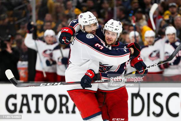 Artemi Panarin of the Columbus Blue Jackets reacts after scoring in the second period in Game Two of the Eastern Conference Second Round against the...
